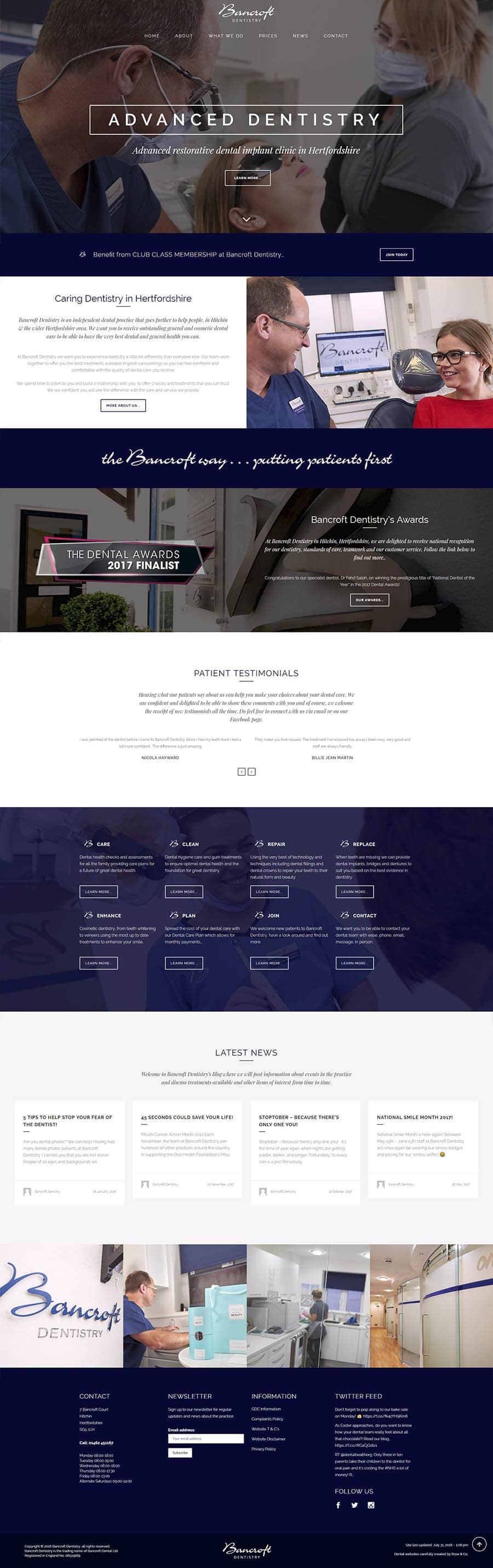 bancroft dentistry website design