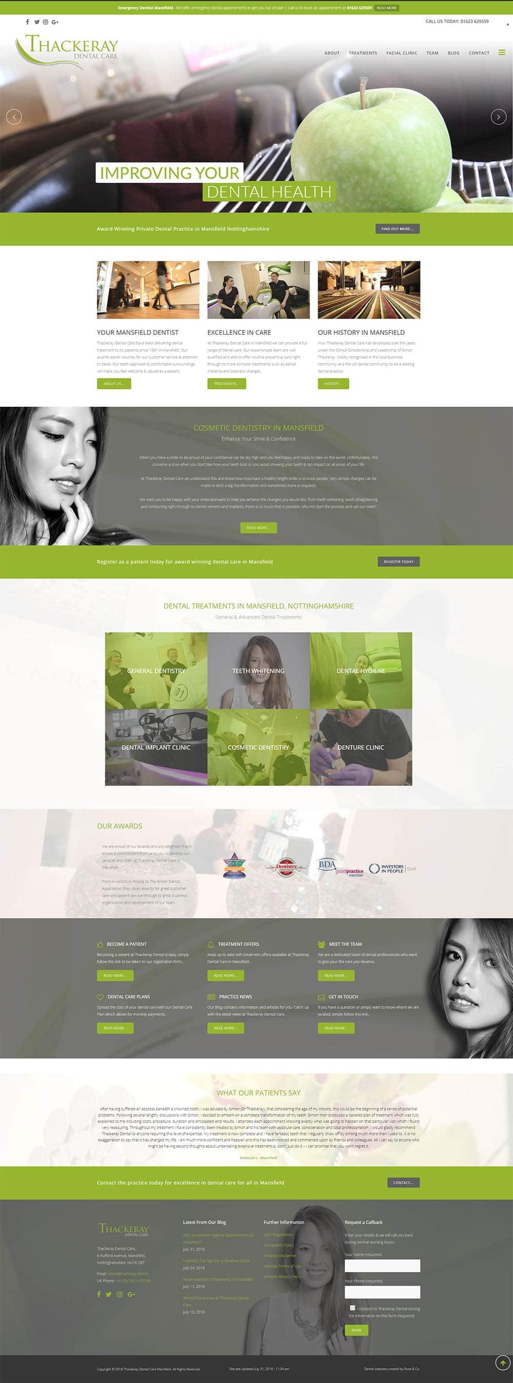 thackeray dental website design