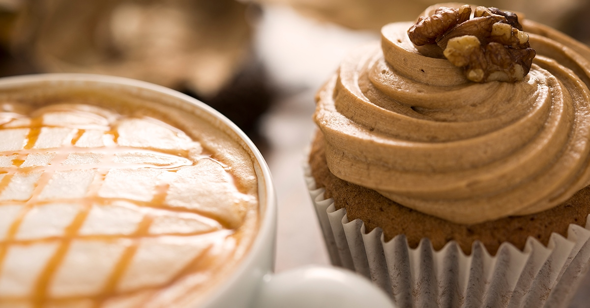 coffee and walnut cupcake