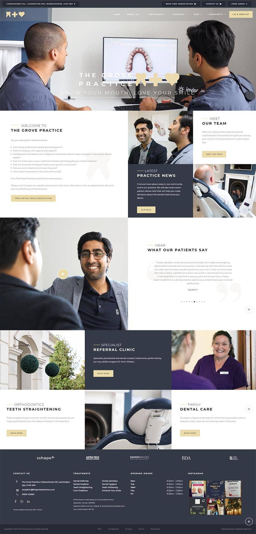 dental website design in warwickshire